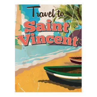 Cartaz das viagens vintage de Vincent de santo Cartão Postal