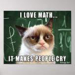 Cartaz mal-humorado do gato eu amo a matemática qu impressão
