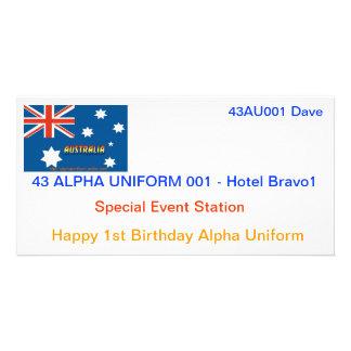 Cartões alfa do uniforme QSL Cartões Com Foto Personalizados