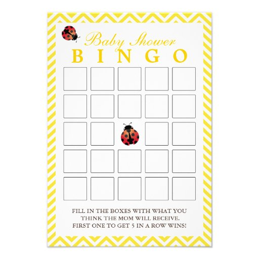 Cartões amarelos do Bingo do chá de fraldas de Che Convites Personalizados