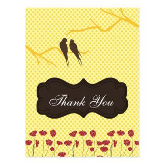 cartões amarelos na moda do lovebirdsThankYou Cartão Postal