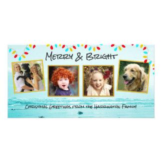Cartões azuis da colagem da foto de família do
