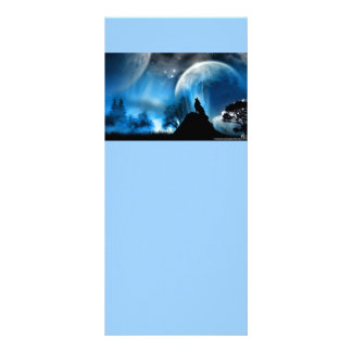 Cartões azuis da cremalheira da fantasia com lobo  10.16 x 22.86cm panfleto