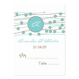 Cartões azuis do assento da mesa do casamento do m cartao de visita