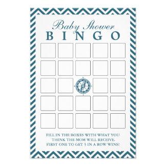 Cartões azuis do Bingo do chá de fraldas de Chevro Convite Personalizados