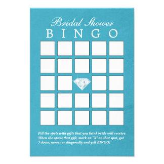 Cartões azuis do Bingo do chá de panela do diamant Convites
