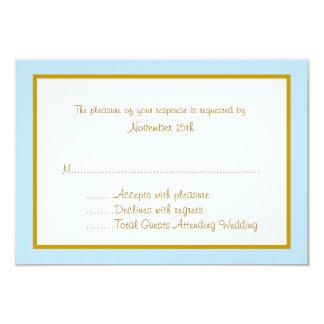 Cartões bonito da resposta do casamento do azul e convites