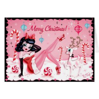 Cartões bonitos da boneca do Pinup do Natal pela