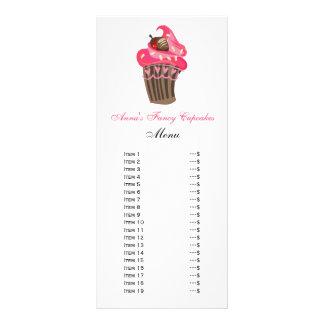 Cartões bonitos do menu dos cupcakes