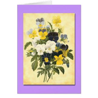 Cartões botânicos da arte do vazio das violetas de
