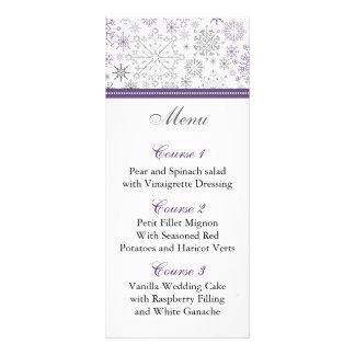 cartões cinzentos roxos do menu do casamento no