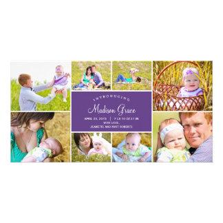 Cartões com fotos à moda do anúncio do nascimento