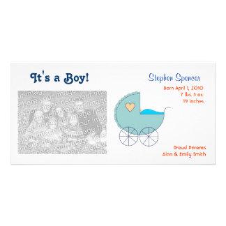 Cartões com fotos azuis do anúncio do bebê da carr