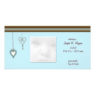Cartões com fotos azuis do anúncio do bebê do cora