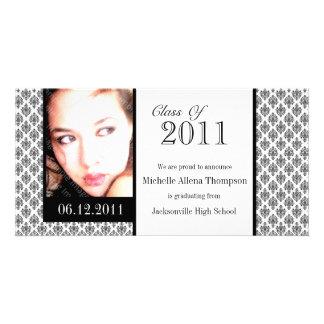 Cartões com fotos brancos do anúncio da graduação