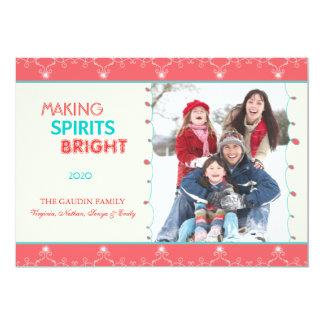 Cartões com fotos brilhantes da família do feriado convites personalizados
