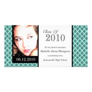 Cartões com fotos do anúncio da graduação do