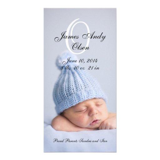 Cartões com fotos do anúncio do nascimento do bebé