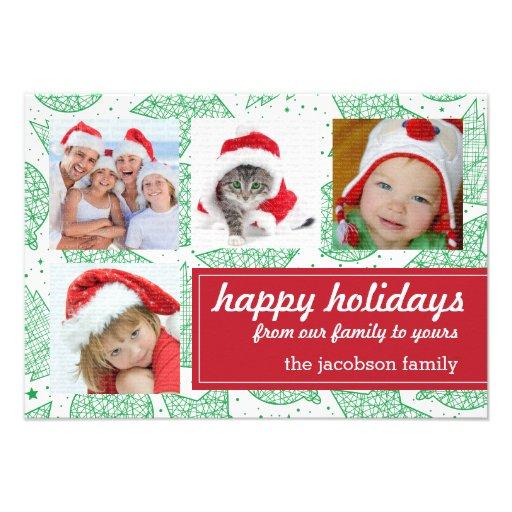 Cartões com fotos do feriado do verde e do White Convites Personalizados