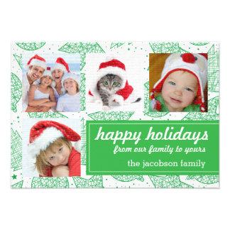 Cartões com fotos do feriado do verde e do White Convites Personalizado