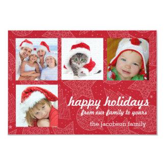 Cartões com fotos do feriado do vermelho e do convites personalizado