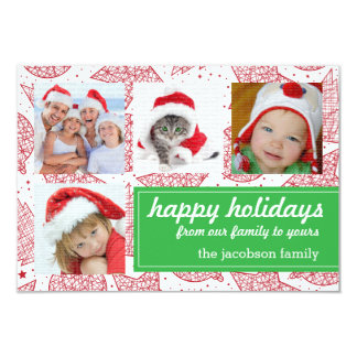Cartões com fotos do feriado do vermelho e do convite personalizados