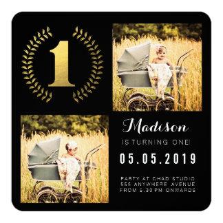 Cartões com fotos do primeiro aniversario da convites personalizado