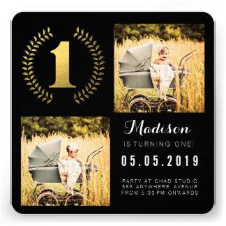 Cartões com fotos do primeiro aniversario da grina convites personalizado
