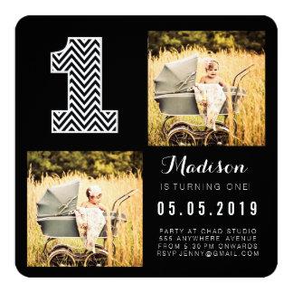 Cartões com fotos pretos & brancos do primeiro convite