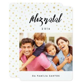 Cartões comemorativos | feliz natal estrelas convite 12.7 x 17.78cm