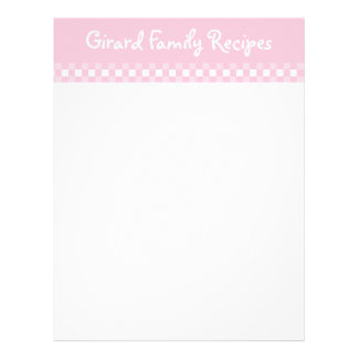 Cartões cor-de-rosa da receita do guingão modelo de papel de carta