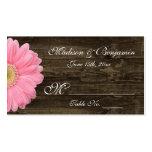 Cartões cor-de-rosa de madeira rústicos do lugar d cartões de visita