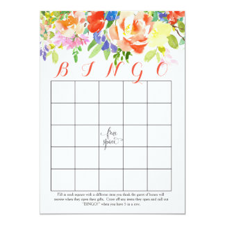 cartões cor-de-rosa do Bingo do chá das flores Convite 12.7 X 17.78cm