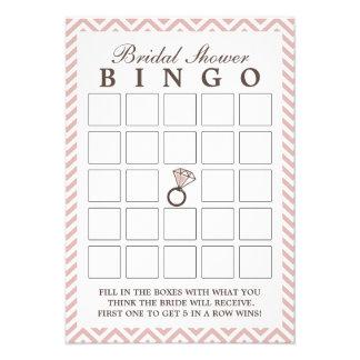 Cartões cor-de-rosa do Bingo do chá de panela do z Convite