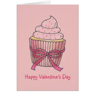 Cartões cor-de-rosa do cupcake do feliz dia dos