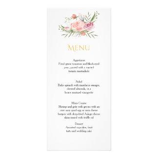 Cartões cor-de-rosa do menu dos rosas da aguarela