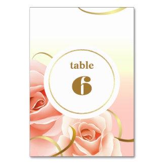 Cartões cor-de-rosa elegantes do número da mesa