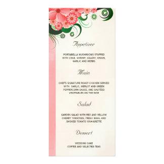 Cartões cor-de-rosa florais do menu do comensal de 10.16 x 22.86cm panfleto