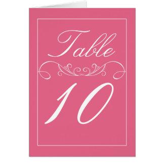 Cartões cor-de-rosa modernos do número da mesa do