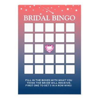 Cartões crepusculares cor-de-rosa & azuis do Bingo Convite Personalizado