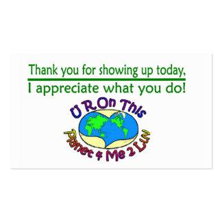 Cartões da apreciação que mudam este planeta cartão de visita