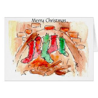 Cartões da arte do Xmas do Feliz Natal da lareira