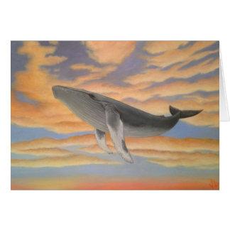 Cartões da baleia do vôo