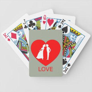 Cartões da bicicleta do coração do amor jogos de cartas