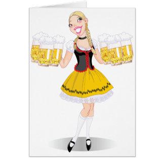 Cartões da cerveja do serviço da menina