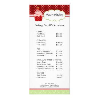 Cartões da cremalheira da padaria do cupcake da mo panfleto informativo