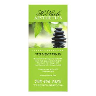 Cartões da cremalheira do menu da estética panfletos informativos