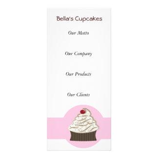 Cartões da cremalheira do negócio do cupcake 10.16 x 22.86cm panfleto