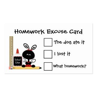Cartões da desculpa do joaninha e dos trabalhos de cartão de visita