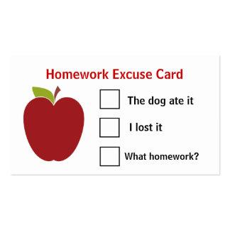 Cartões da desculpa dos trabalhos de casa de Apple Cartão De Visita